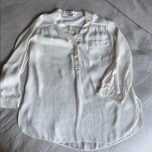 Anthropologie silk cream shirt